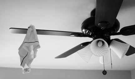 Underwear on a fan.