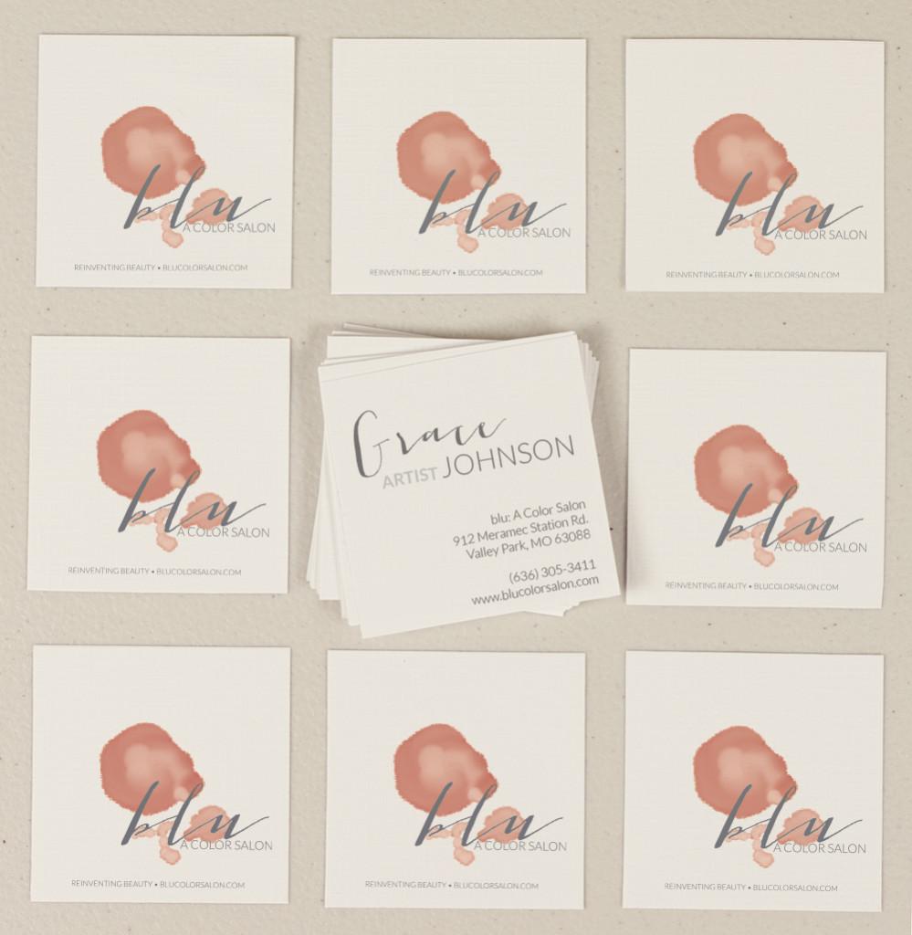 Salon Branding - Hair Salon Square Business Card Design