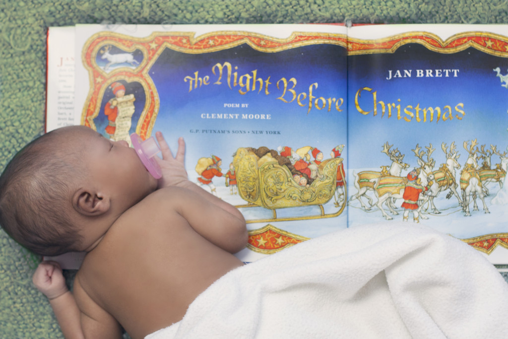 Newborn Photography by Liz Davenport Creative of baby sleeping on Night Before Christmas